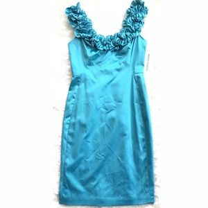 Ruffled Neckline Turquoise Dress